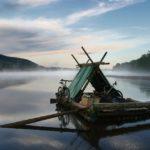 Floßfahren Floßfahrt Morgennebel Klarälven