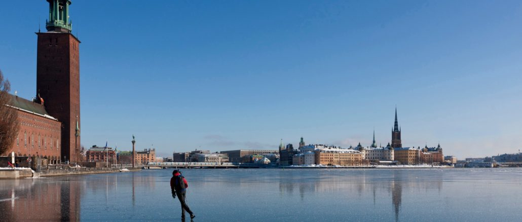Stockholm im Winter Schlittschuh laufen
