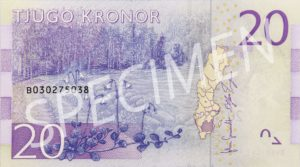 20 Schwedische Kronen Geldschein Rückseite